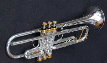 "Spencer ""RAF"" style Bb Trumpet with gold accents"